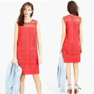J. Crew Red Eyelet Lattice Geometric Dress 146